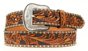 Nocona Tooled Hair-on-Hide Inlay Concho Belt, Black, hi-res