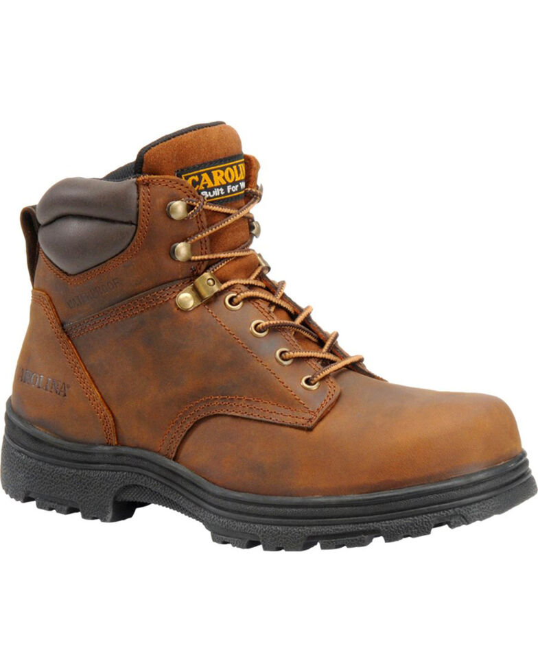 "Carolina Men's 6"" Brown Engineer Waterproof Work Boots - Steel Toe, Brown, hi-res"
