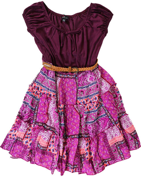 Lilt Girls' Peasant Dress, Black Cherry, hi-res
