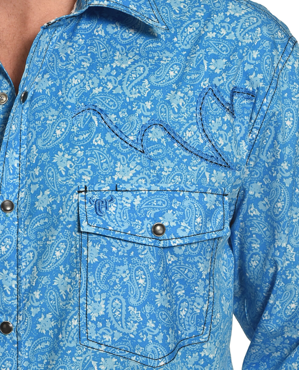 Cowboy Hardware Men's Blue Range Paisley Print Shirt , Blue, hi-res