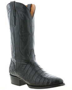 El Dorado Men's Caiman Belly Western Boots - Round Toe, Black, hi-res