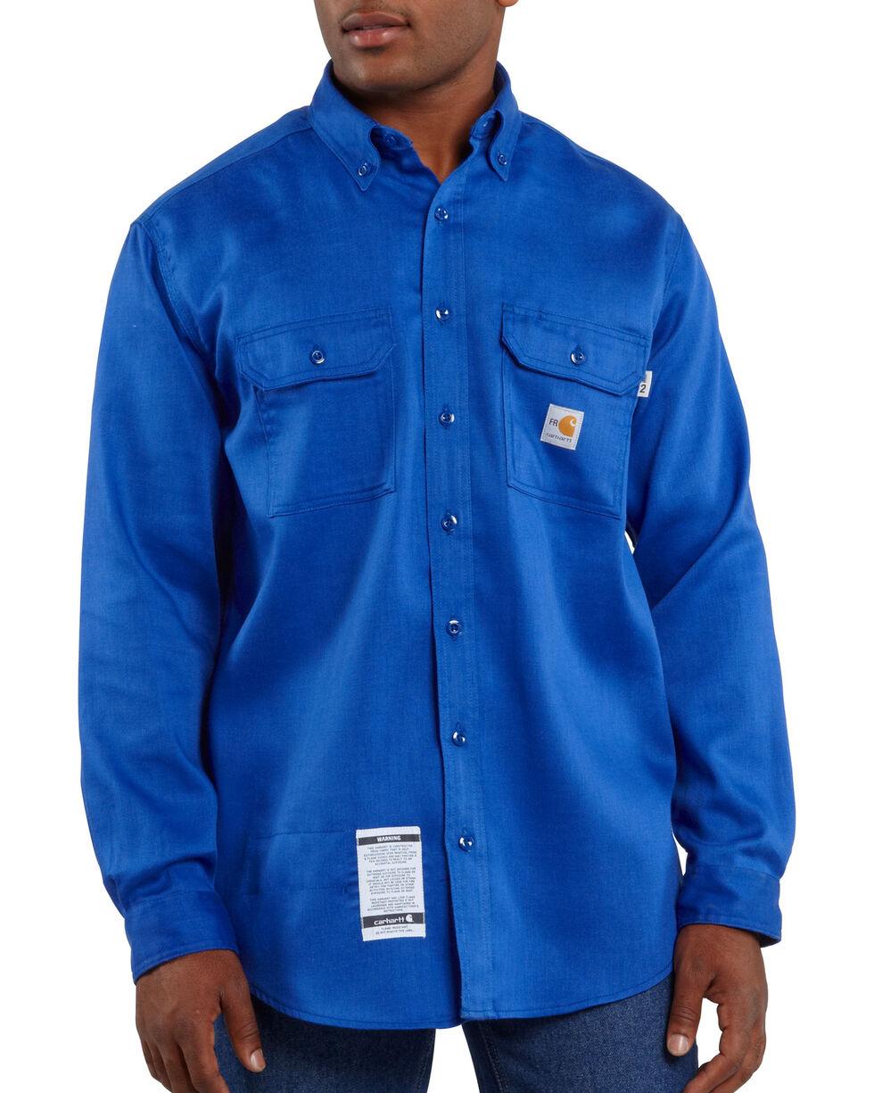 Carhartt Flame Resistant Work-Dry® Twill Long Sleeve Shirt - Big & Tall, Royal, hi-res