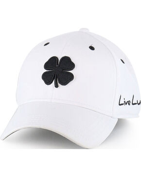 Black Clover Men's Premium Fitted Embroidered Logo Ball Cap, White, hi-res