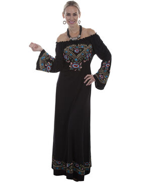 Honey Creek by Scully Women's Black Off The Shoulder Long Sleeve Embroidered Dress , Black, hi-res