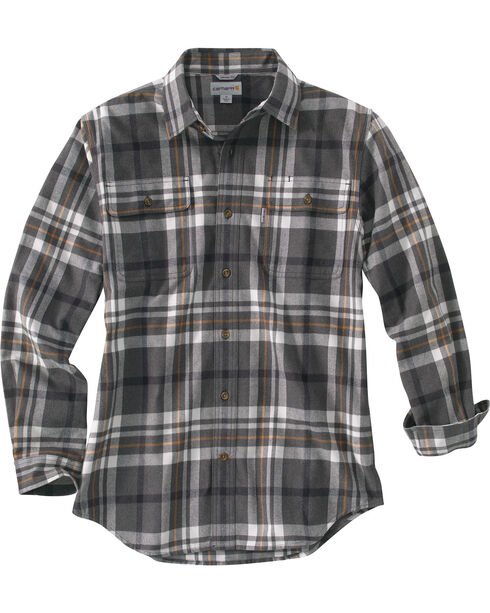 Carhartt Men's Hubbard Classic Plaid Shirt, Granite, hi-res