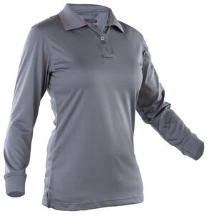 Tru-Spec Women's Dark Grey 24-7 Performance Long Sleeve Polo , Dark Grey, hi-res