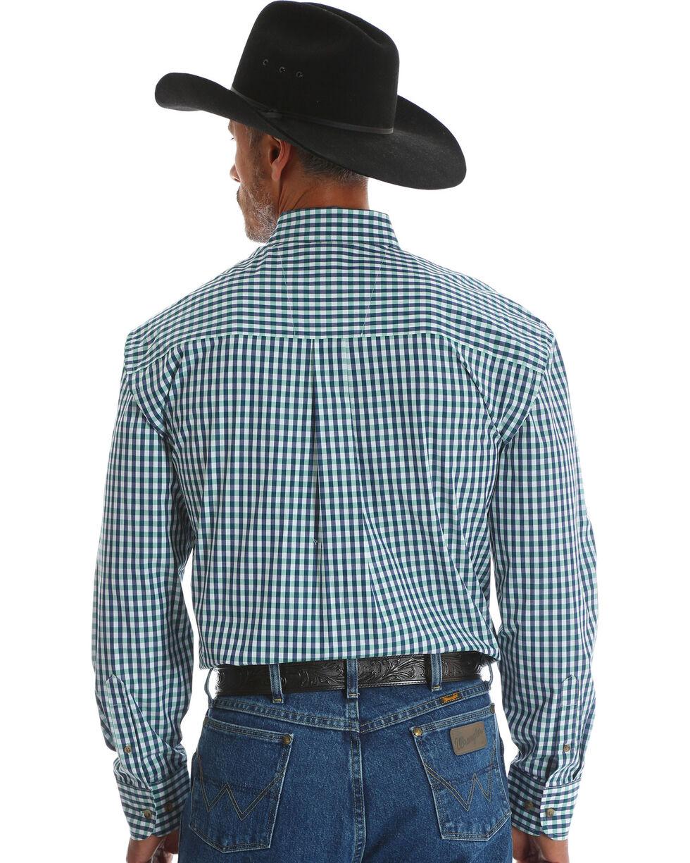 Wrangler Men's Blue George Strait One Pocket Plaid Shirt , Blue, hi-res