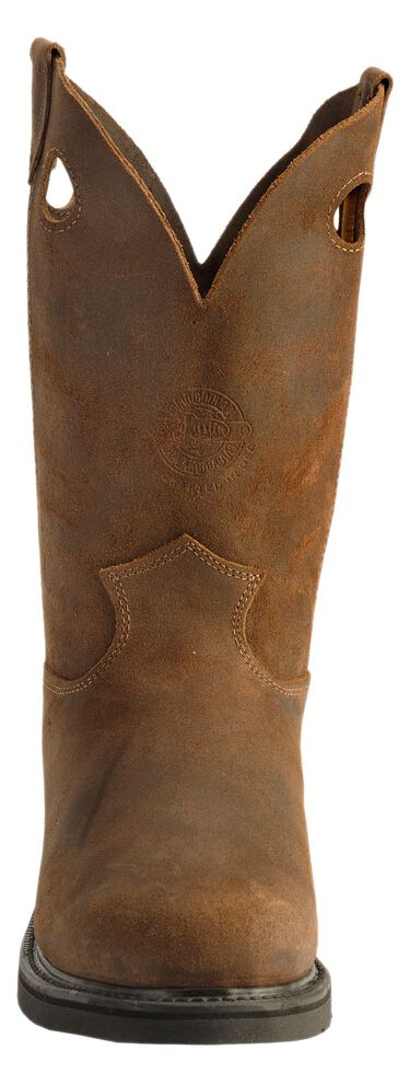 Justin American Tradition Pull-On Work Boots - Round Toe, Brown, hi-res