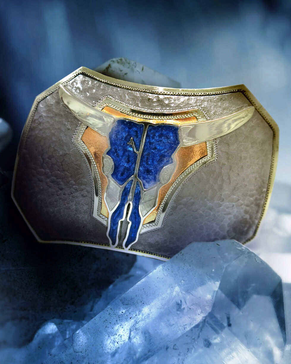 Augus Silversmiths Men's Pearly Blue Cow Skull Buckle , Silver, hi-res