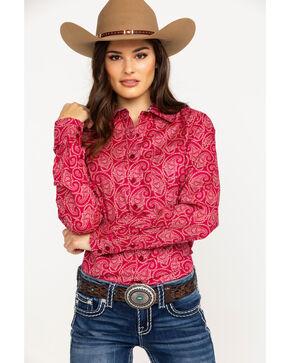 Cinch Women's Paisley Print Logo Button Long Sleeve Western Shirt , Burgundy, hi-res