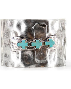Shyanne Women's Antiqued Cross Cuff Bracelet, Silver, hi-res