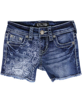 Shyanne Girls' Paisley Acid Wash Denim Shorts, Blue, hi-res
