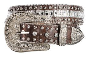 Nocona Crystal Croc Print Leather Belt, Brown, hi-res