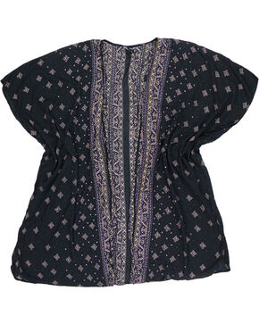 Angie Women's Black Tapestry Patterned Open Front Kimono , Black, hi-res
