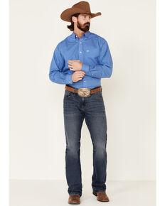 Ariat Men's Wrinkle Free Galvin Abstract Geo Print Long Sleeve Western Shirt , Blue, hi-res
