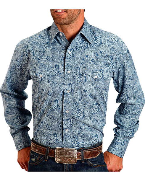 Stetson Men's Navy Paisley Long Sleeve Western Shirt, Navy, hi-res