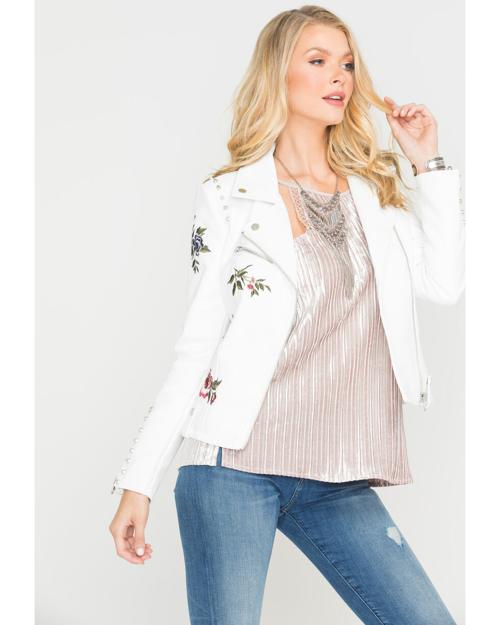 Driftwood Women's White Floral Embroidered Moto Jacket , White, hi-res