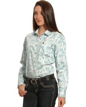 Ariat Women's Flame-Resistant Crane Work Shirt, Blue, hi-res