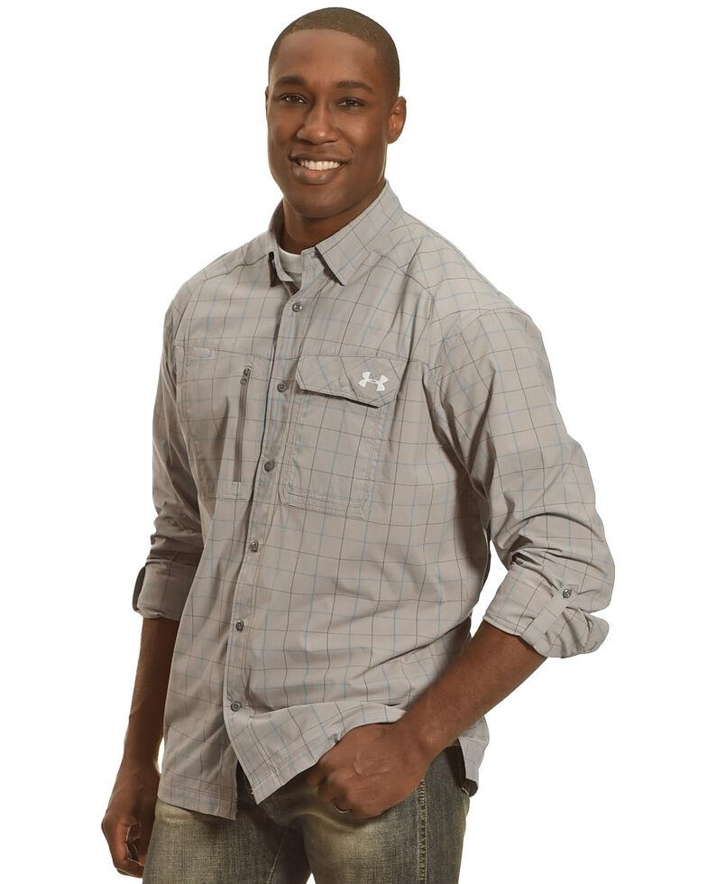 Under Armour Men's Charcoal Grey Fish Hunter Long Sleeve Plaid Shirt , Charcoal Grey, hi-res