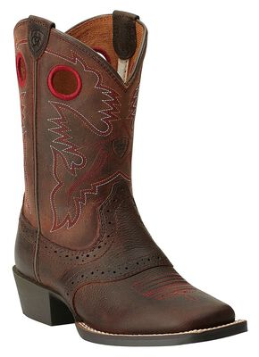 Ariat Youth Boys' Rough Stock Cowboy Boots - Square Toe, Brown, hi-res