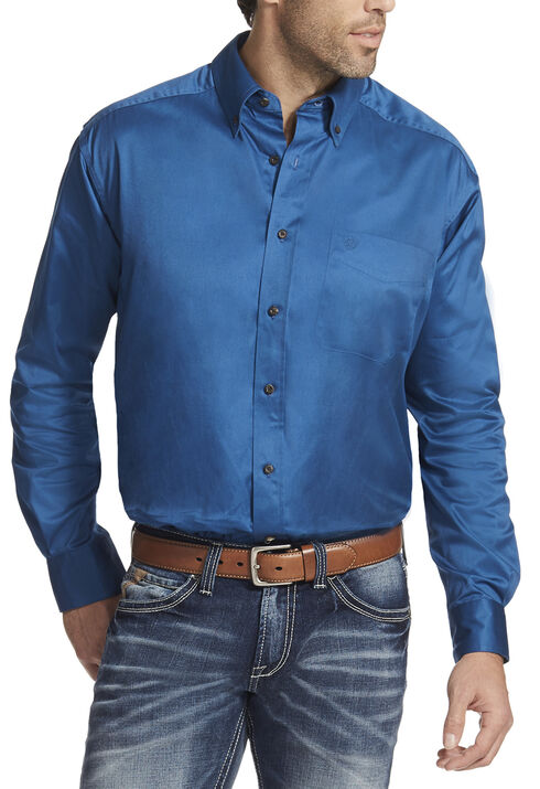 Ariat Men's Blue Solid Twill Button Down Shirt - Big & Tall, Blue, hi-res
