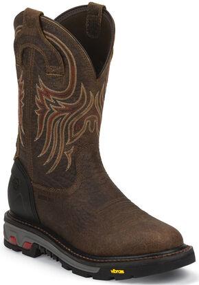 Justin Men's Pumpjack Mahogany EH Waterproof Work Boots - Steel Toe, Mahogany, hi-res