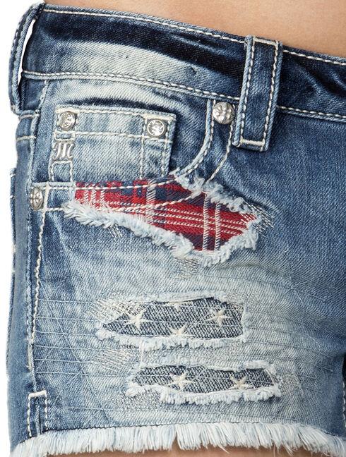 Miss Me Women's Indigo Rip Patch Star Struck Shorts , Indigo, hi-res