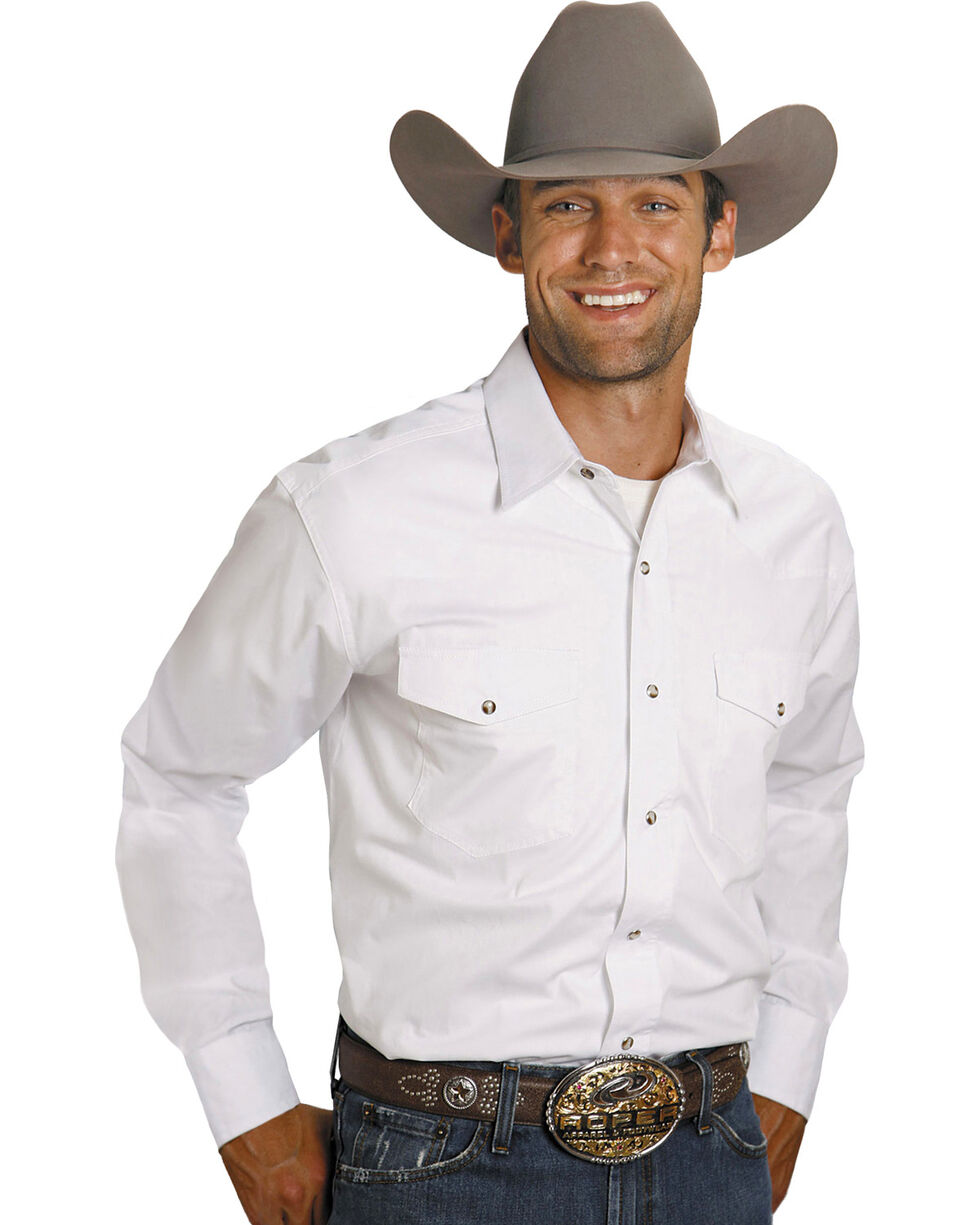 Roper Men's Amarillo Collection Western Shirt, White, hi-res