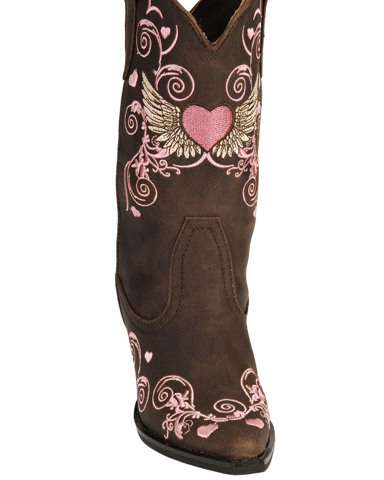 Roper Girls' Heart & Wing Embroidered Cowgirl Boots - Snip Toe, Brown, hi-res