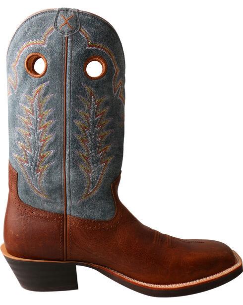 Twisted X Men's Ruff Stock Denim Cowboy Boots - Square Toe, Brown, hi-res