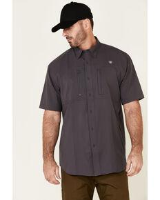 Ariat Men's Charcoal VentTek Solid Short Sleeve Button Western Shirt - Big , Charcoal, hi-res