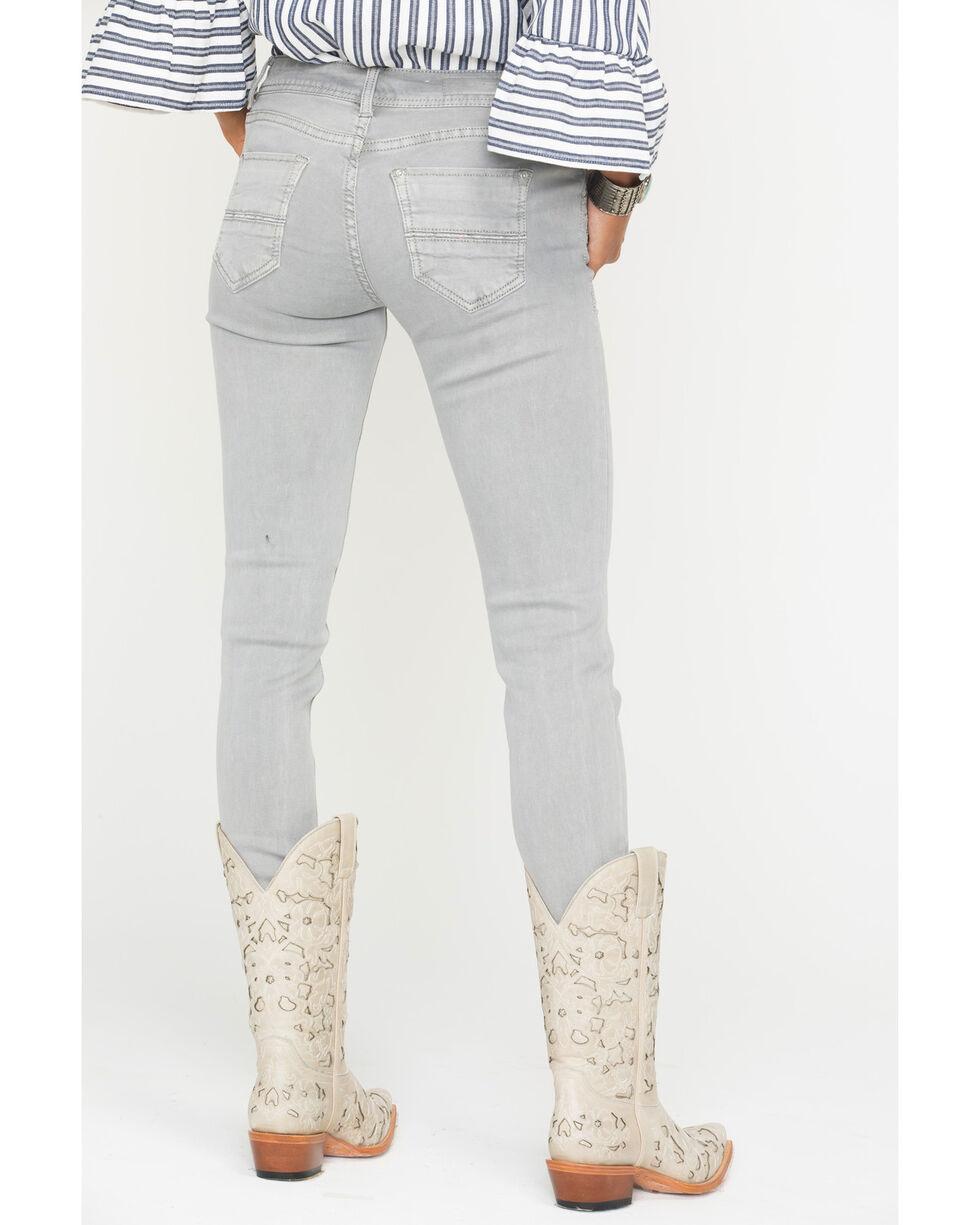 Grace in LA Women's Zipper Detail Jeans - Skinny , Grey, hi-res