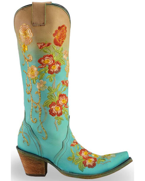 Corral Women's Turquoise Orange Floral Embroidered Boots - Snip Toe , Turquoise, hi-res