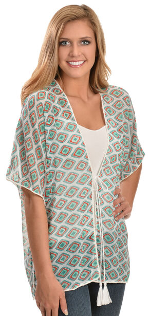 Wrangler Rock 47 Women's Short Sleeve Printed Kimono, Multi, hi-res