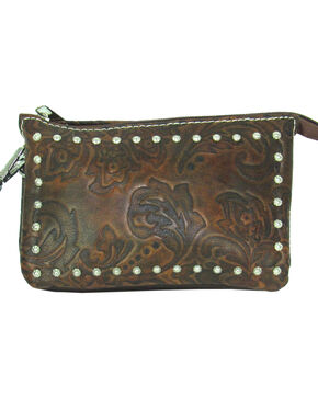 Savana Women's Tooled Event Approved Wristlet, Tan, hi-res