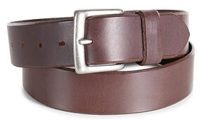 American Worker Men's Smooth Leather Western Belt, Brown, hi-res