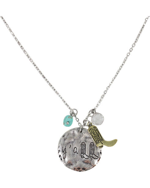 Shyanne® Women's Y'all Necklace , Silver, hi-res