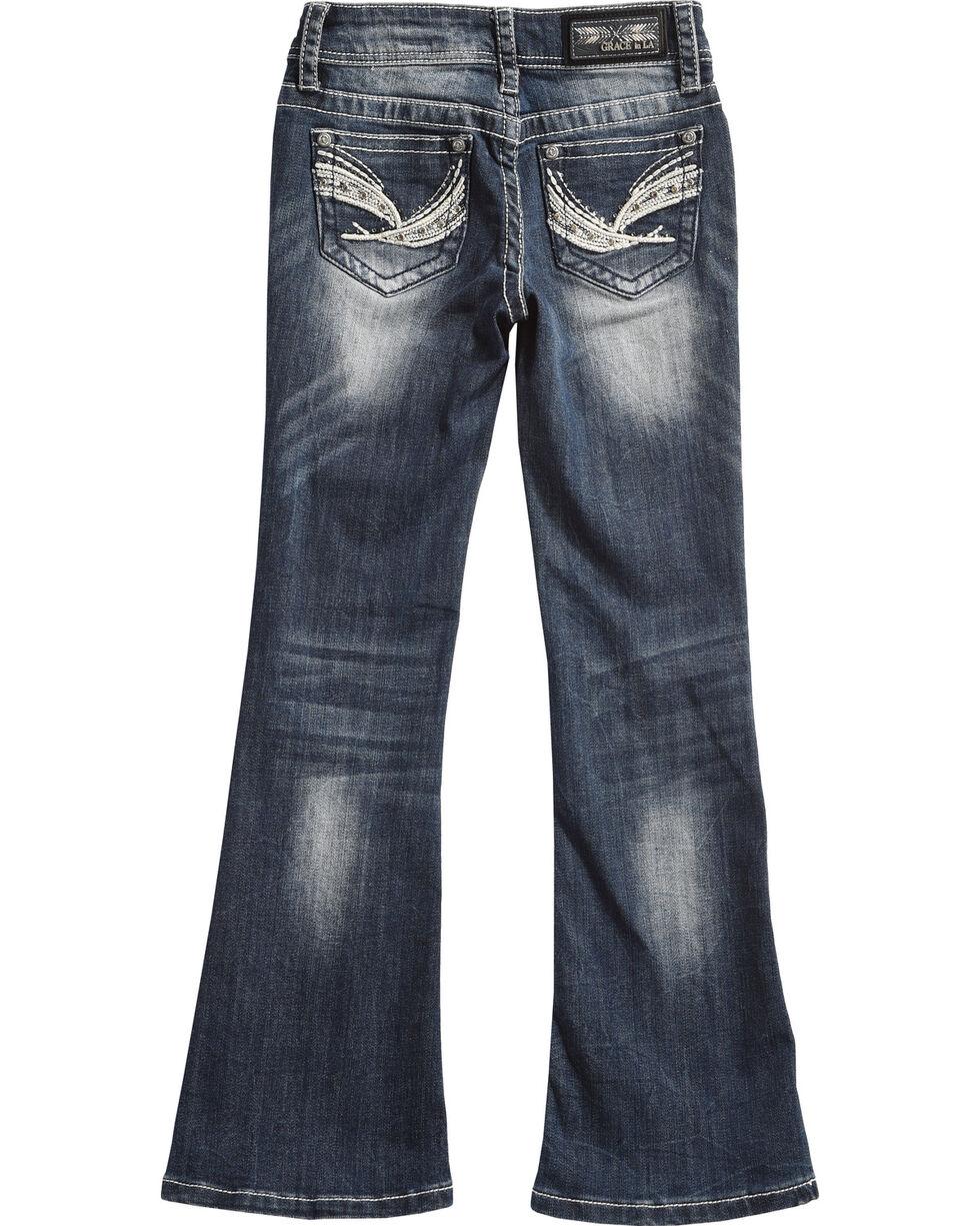 Grace in LA Girls' Blue Brushstroke Bling Pocket Jeans - Boot Cut , Blue, hi-res