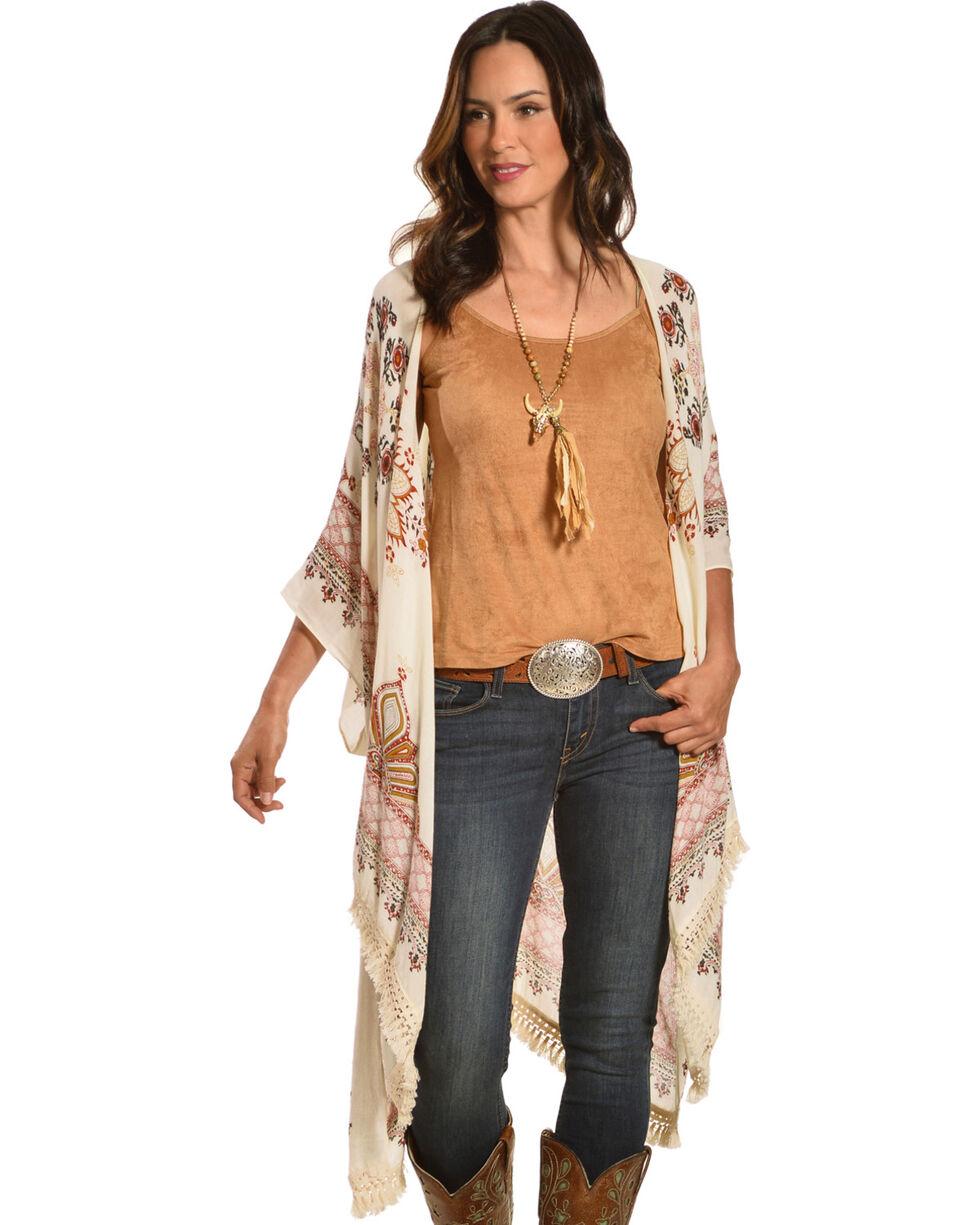 American Attitude Women's Moroccan Fringe Kimono, Ivory, hi-res