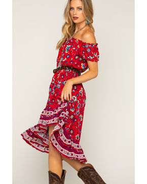 Shyanne Women's Floral Button-Down Dress, Red, hi-res