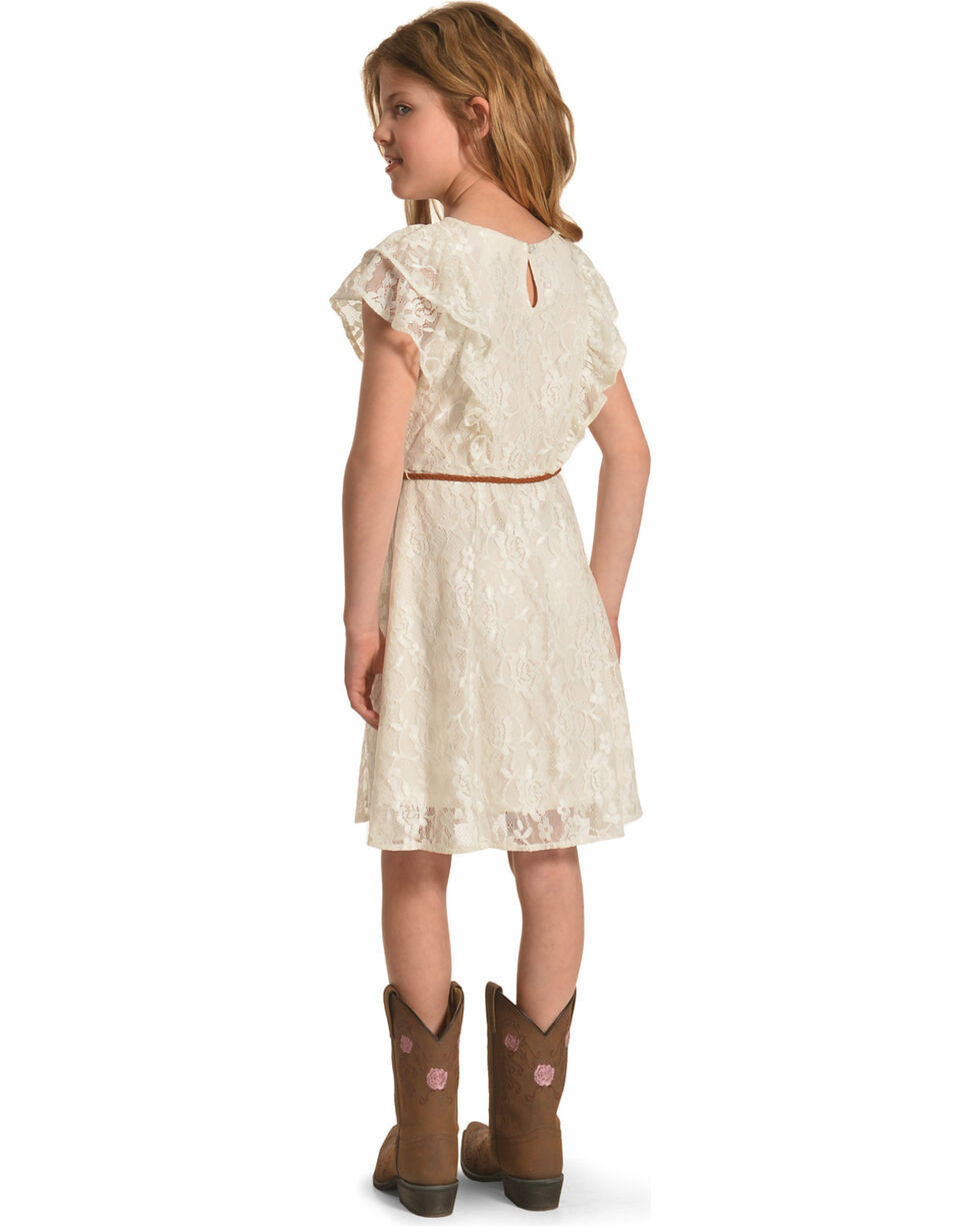 Shyanne Girls' Lace Dress with Braided Belt, Ivory, hi-res