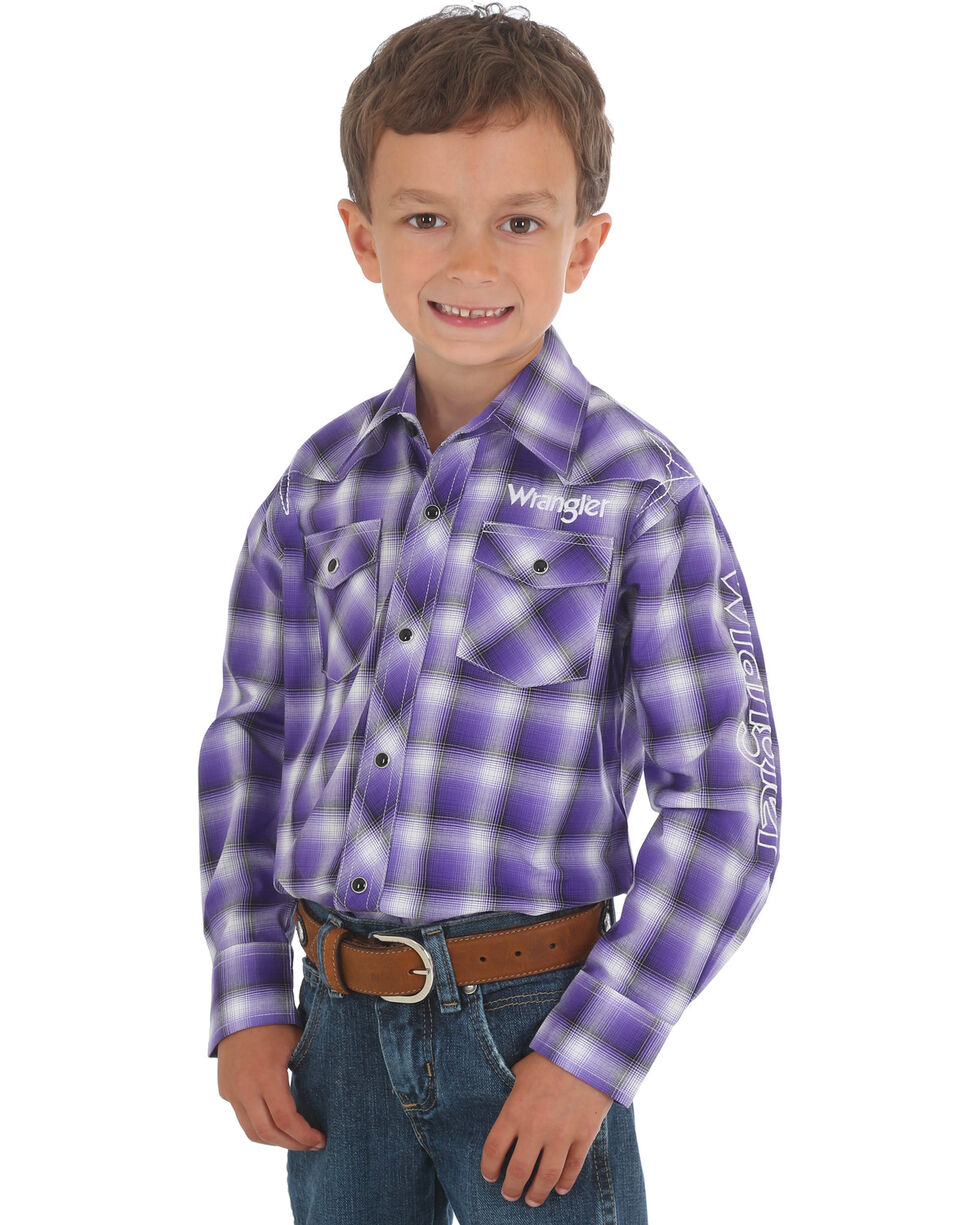 Wrangler Boys' Logo Long Sleeve Western Snap Shirt, Purple, hi-res
