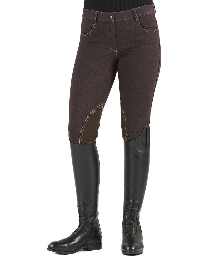 Ovation Women's Euro Jean Zip Front Knee Patch Breeches, Brown, hi-res