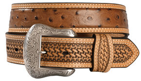 Nocona Basketweave Ostrich Print Leather Belt, Cognac, hi-res
