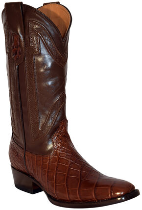 Ferrini Alligator Belly Exotic Cowboy Boots - Square Toe, Chocolate, hi-res
