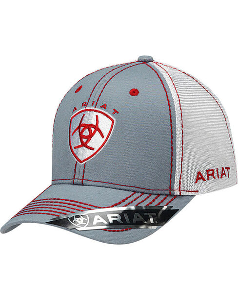 Ariat Men's Silver with Red Accents Baseball Cap , Grey, hi-res