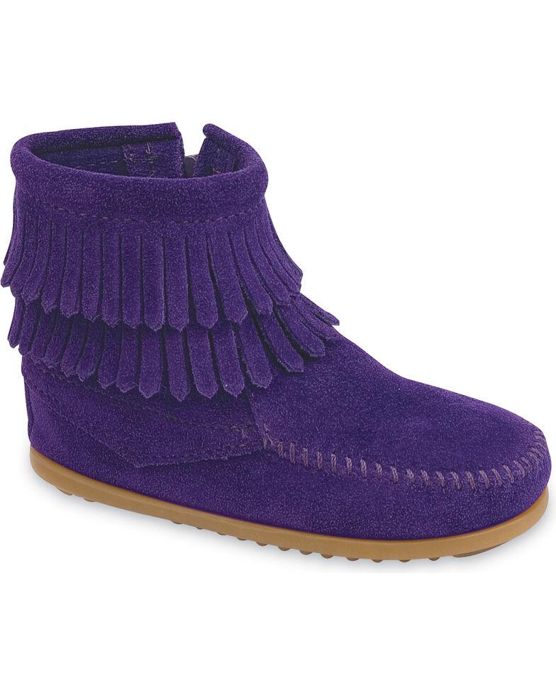 Minnetonka Girls' Double Fringe Side-Zip Moccasin Boot, Purple, hi-res