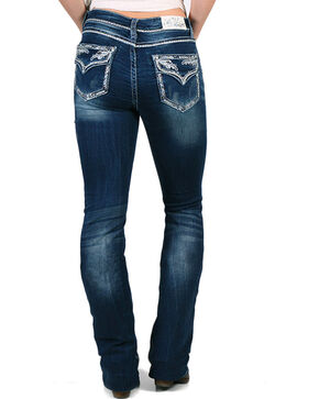 Grace in LA Women's Indigo Leafy Crystal Edge Jeans - Boot Cut , Indigo, hi-res