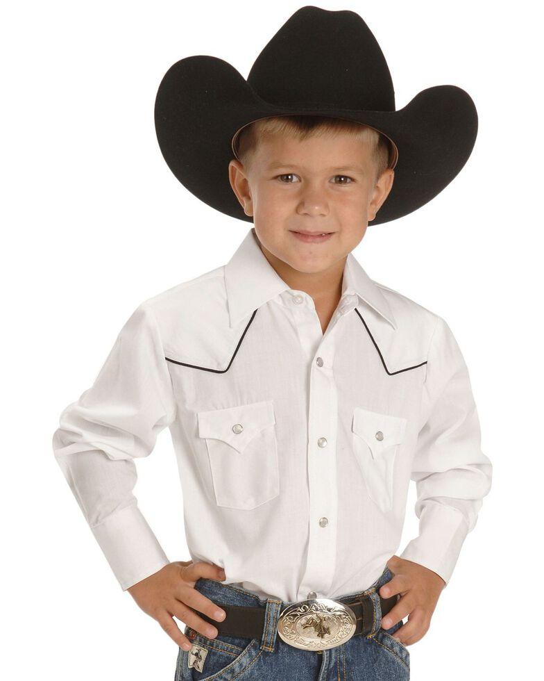Ely Boys' White Western Shirt - 2-16, White, hi-res