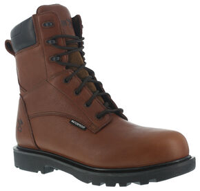 "Iron Age Men's Hauler Waterproof 8"" Work Boots - Composite Toe, Brown, hi-res"